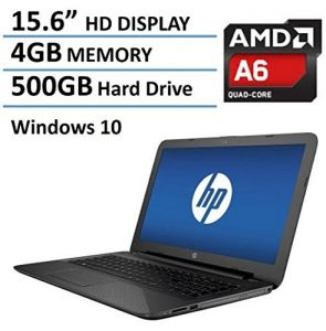 HP Pavilion 15 15.6-Inch Laptop (AMD Quad-Core A6-5200 , 4GB RAM, 500GB HDD, DVD+/-RW, Webcam, Wifi, HDMI,Windows 10),Black