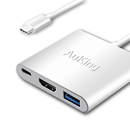 AuKing USB C Digital AV Multiport Adapter,USB 3.1 type C hub to HDMI 4K UHD,USB 3.0 and USB C charging port for New Apple MacBook Chromebook Pixel and more USB C Devices