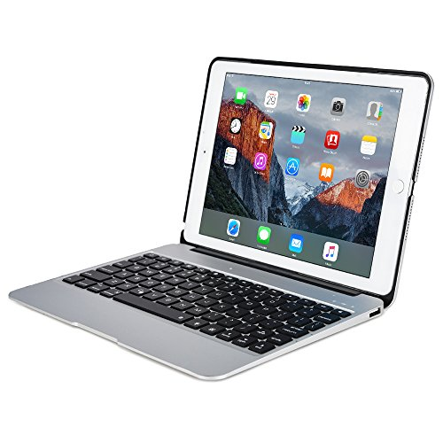 Apple iPad Air 2, iPad Pro 9.7 keyboard case, [NEW] COOPER KAI SKEL A1 Backlit Aluminum Bluetooth Wireless Keyboard Laptop Macbook Clamshell Case Cover Battery Power Bank NOT FOR IPAD 9.7 2017 Silver
