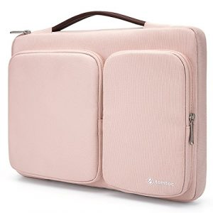 Tomtoc 360° Protective Laptop Sleeve Case for 13 – 13.5 Inch MacBook Air | MacBook Pro Retina 2012-2015 | Surface Book 2015-2017 | Surface Laptop | Chromebook | Tablet | Girl | Women, Baby Pink