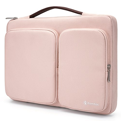 Tomtoc 360° Protective Laptop Sleeve Case for 13 - 13.5 Inch MacBook Air | MacBook Pro Retina 2012-2015 | Surface Book 2015-2017 | Surface Laptop | Chromebook | Tablet | Girl | Women, Baby Pink