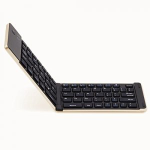 F66 Mini Bluetooth Faltbare Tastature Drahtloses Keybaord für Apple IOS iPad Air iPad Mini iPad 4 Android Samsung Galaxy Tablet PC Smart Phone (Golden) – English Layout