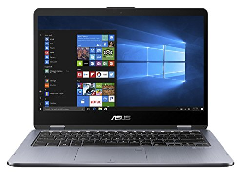 Asus VivoBook Flip 14 TP410UA-EC242T 35,5 cm (14 Zoll FHD Touch) Convertible Notebook (Intel Core i5-7200U, 8GB RAM, 256GB SSD, Intel HD Graphics, Win 10 Home) grau