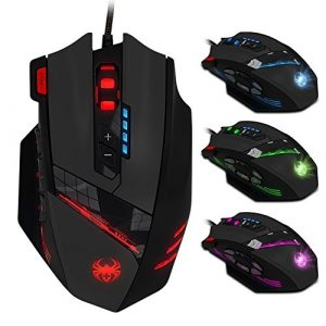 Gaming Maus, Zelotes 12 programmierbare Tasten Wried Gamer Maus für Pro Gamer PC,USB Wired Gaming Mouse Mäuse mit Einstellbare LED Backlight (Schwarz)