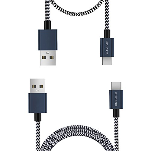 Typ C Kabel USB C Kabel 2 Pack (0,25 m 1 m) von FQIAO HSS Synchronisieren und Aufladen und langlebigem Nylon geflochten Stärken Design für Samsung Note 8 Samsung Galaxy S8 Samsung Galaxy S8 Plus, Nexus 5 x/6P, lumia950/950 X L, Apple New MacBook, Chromebook Pixel und andere USB-C devices- blau