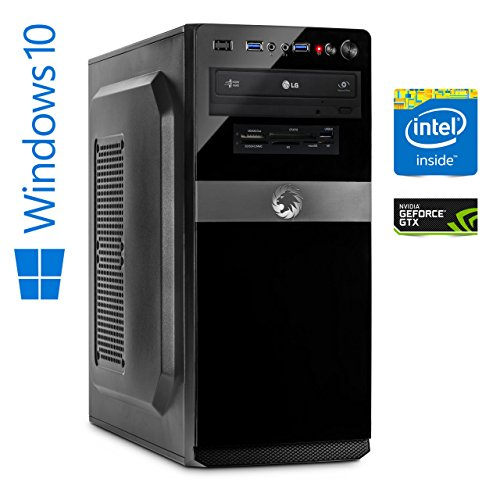 Memory PC Gaming Computer Intel i5-7500 4x 3.4 GHz, NVIDIA GeForce GTX 1050 2GB 4K, ASUS, 8 GB DDR4, 256 GB SSD Solid State Disk Sata3 , USB 3.0, SATA3, HDMI, DVD-Brenner, Sound, GigabitLan, Windows 10 Pro 64bit, MultimediaPC, desktop pc, Cardreader, Kabylake