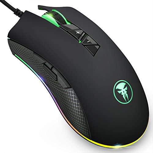 Wired Gaming Maus, FNOVA RGB Gamer Mouse mit 8 Programmierbaren Tasten, 4000 DPI Einstellung, Ergonomisches Professionelle Optische USB Maus, Hohen Präzision LED Mäuse für PC Mac Laptop Office Home