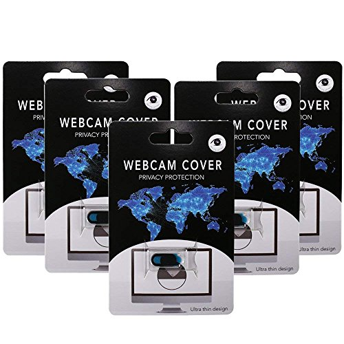 MIHOUNION 0,68mm ultradünne Webcam Abdeckung 5er Set Webcam Cover Frontkamera Abdeckung Webcam Cover Slider für Privatsphäre Schutz Computer Laptop Smartphone Tablet UVM (Schwarz)