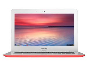 ASUS Chromebook C300SA 13.3-Inch Notebook – UK Stock (Intel Celeron, 2GB RAM, 32GB eMMC, Chrome OS) (Red/White)