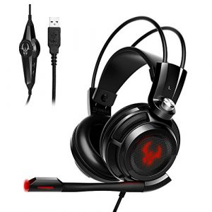 EasyAcc G1 Virtual 7.1 Surround-Sound Gaming Headset mit Vibrationsfunktion,USB PC,PS4 Gaming Kopfhörer