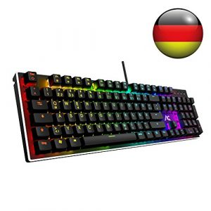 ACGAM RGB Gaming Tastatur 105 Tasten mit Blue Switsches (RGB Beleuchtet, Anti-Ghosting, Voll programmbierbar, Ergonomisches Design und Deutsches Layout QWERTZ) Mechanical Gaming Keyboard