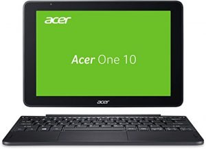 Acer One 10 S1003-1298 25,65 cm (10,1 Zoll HD, IPS, Multi-Touch) Convertible Laptop (Intel Atom x5-Z8350, 2GB RAM, 32GB eMMC, Win 10) schwarz (QWERTZ Deutsch Layout)