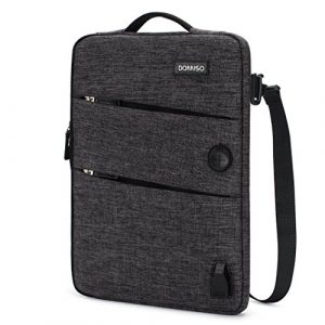 DOMISO 13-13,3 Zoll Wasserdicht Laptophülle mit USB Ladeanschluss Headphone Port Tasche für Apple MacBook Pro/MacBook Air/Dell XPS 13 Inspiron 13 / Acer Swift 1 / Lenovo/HP / ASUS, Schwarz
