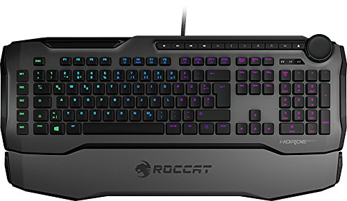 Roccat Horde AIMO Membranical RGB Gaming Tastatur (AIMO LED Beleuchtung, Präzisions-Tastenlayout, Quick-fire Makro-Tasten, konfigurierbares Tuning-Rad, USB) grau