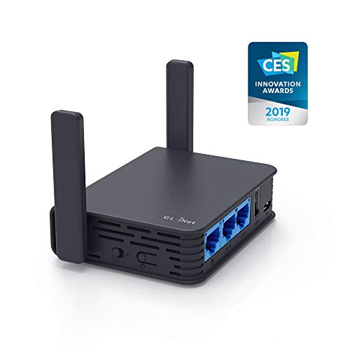 GL.iNet GL-AR750S-Ext Gigabit Travel AC Router (Slate), 300Mbps(2.4G)+433Mbps(5G) Wi-Fi, 128MB RAM, 128MB NAND Flash, MicroSD Storage Support, OpenWrt/LEDE pre-Installed, Cables Included