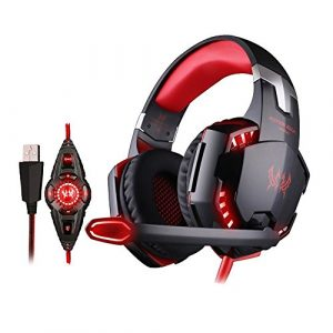 VersionTech Stereo 7.1 Surround USB Gaming Headset PC Headset Headphones with Microphone,Cool LED Lights,Super Vibration for Pro Gamer(Incompatible with PS4 PS3 Xbox 360 Xbox One,Red)