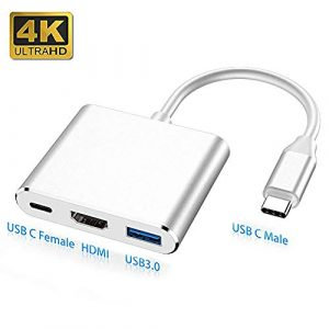 FOWYJ USB Typ C-HDMI-Adapter, USB Kupferkern-Hub-Ports Kompatibel Für MacBook Pro Air 2018 Chromebook Pixel Dell XPS 13 / Yoga 910 Ipad Pro 2018 Huawei,Weiß