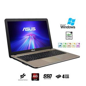 Asus VivoBook Notebook, (15.6″ Zoll ,HD LED) (CPU AMD A6-9225 2,60 GHz – 4GB RAM DDR4 – SSD 240GB) Windows 10 Professional,Office,Layout Italienisch QWERTY