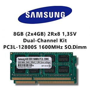 Samsung 8GB (2x 4GB) Dual-Channel Kit DDR3 1600MHz (PC3L 12800S) SO Dimm Low Voltage Notebook Laptop Arbeitsspeicher RAM Memory